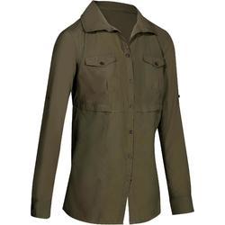 Arpenaz 500 女士長袖健行運動襯衫 - 米色