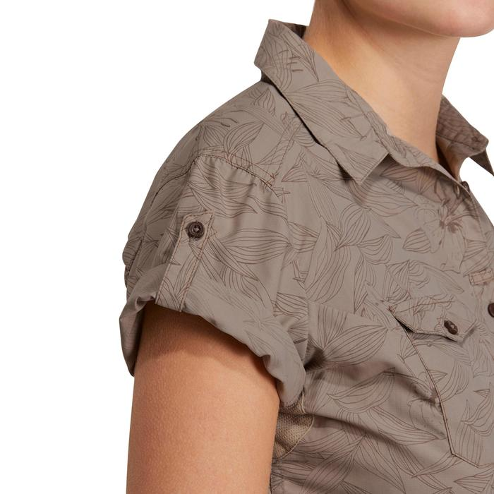 Chemise manches courtes trekking Arpenaz 500 femme beige imprimé - 1146136