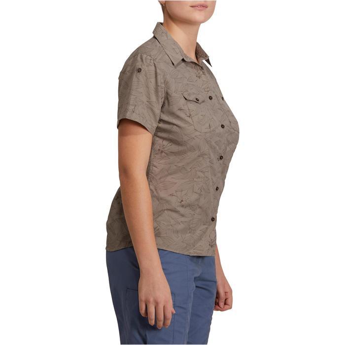 Chemise manches courtes trekking Arpenaz 500 femme beige imprimé - 1146152