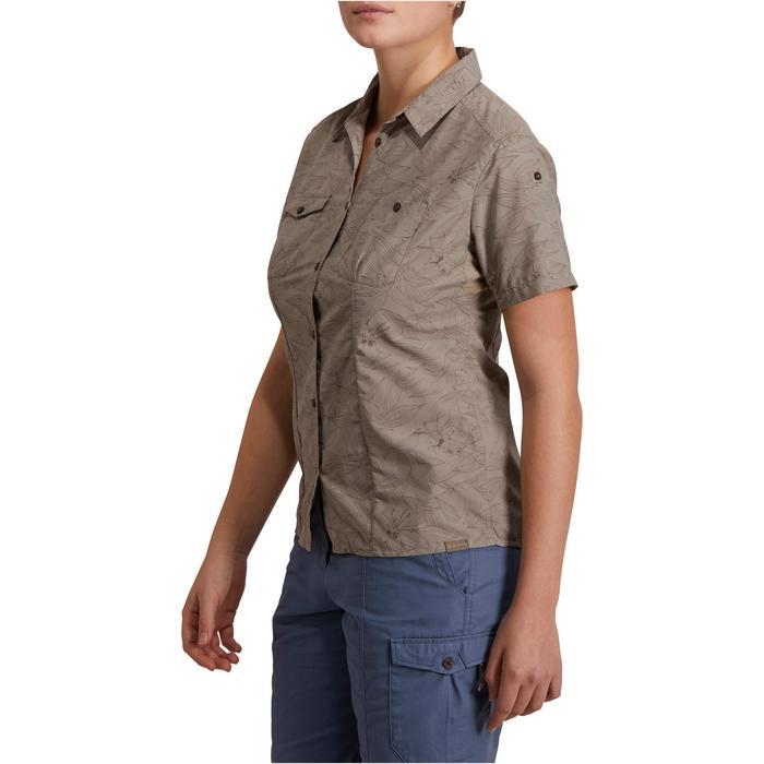 Chemise manches courtes trekking Arpenaz 500 femme beige imprimé - 1146169