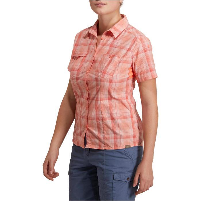 Camisa de manga corta Trekking Arpenaz 500 mujer a cuadros naranja