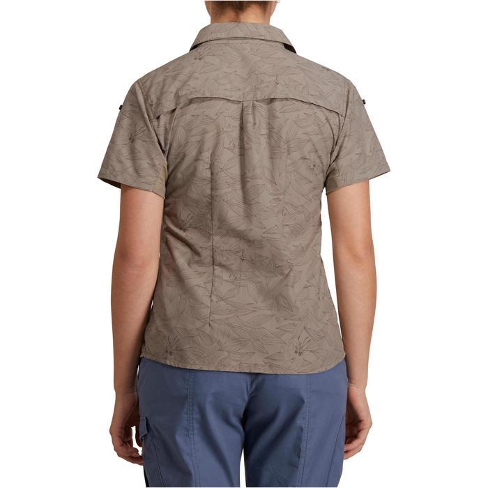 Chemise manches courtes trekking Arpenaz 500 femme beige imprimé - 1146182
