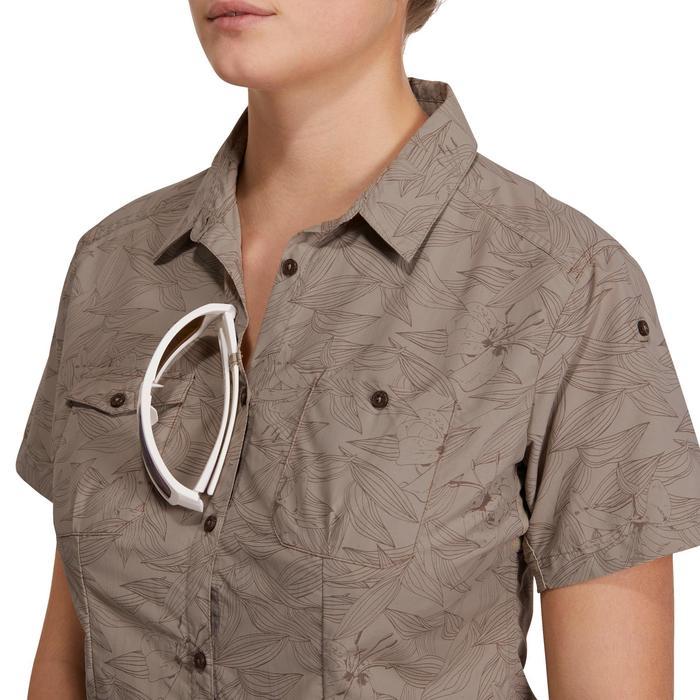 Chemise manches courtes trekking Arpenaz 500 femme beige imprimé - 1146192
