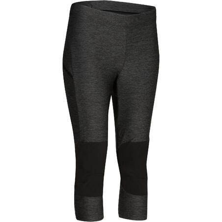 Women's fast hiking leggings FH500 Helium - Mottled grey