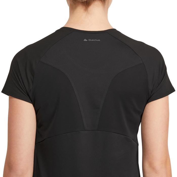 Camiseta manga corta de senderismo en la montaña MH500 Mujer Negro