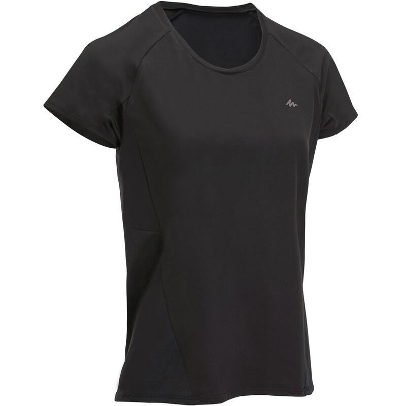 Tee-Shirt manches courtes de randonnée en montagne MH500 Femme Noir