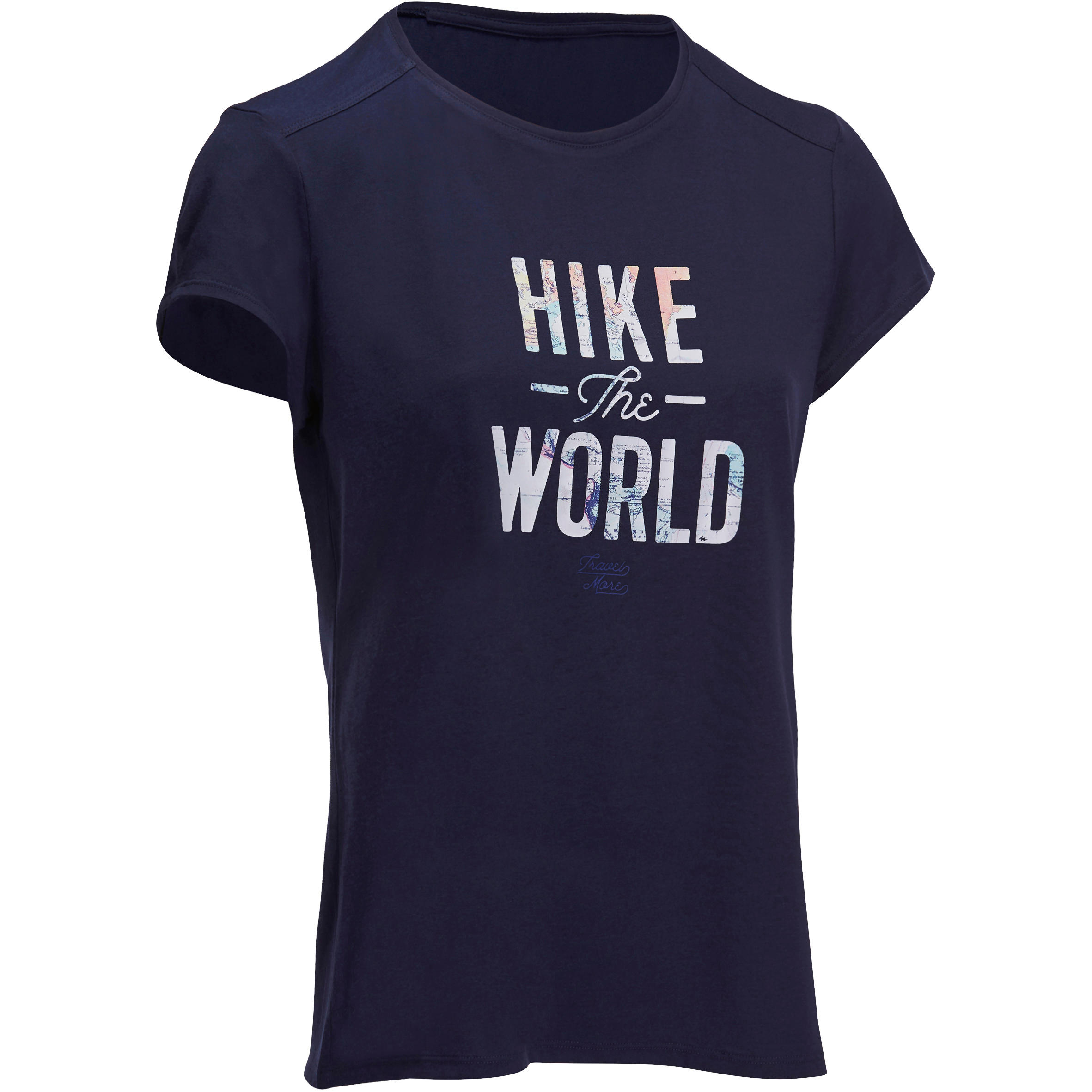 Camiseta travesía naturaleza mujer Techtil 100 azul marino