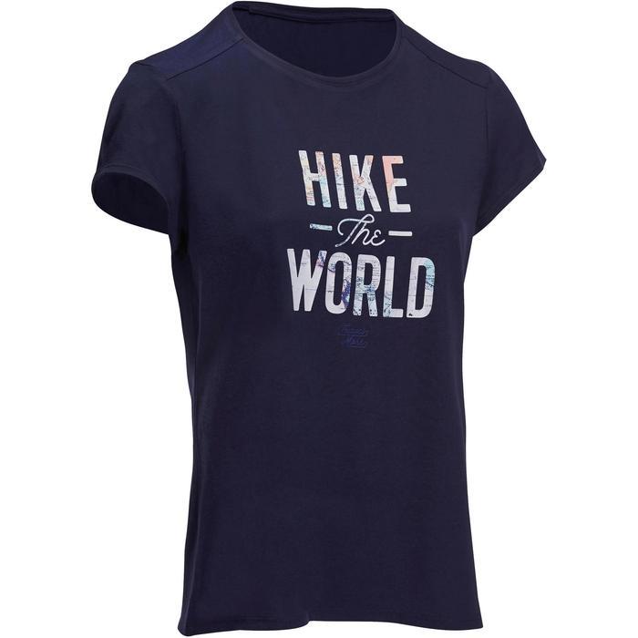Dames T-shirt wandelen in de natuur NH500 marineblauw