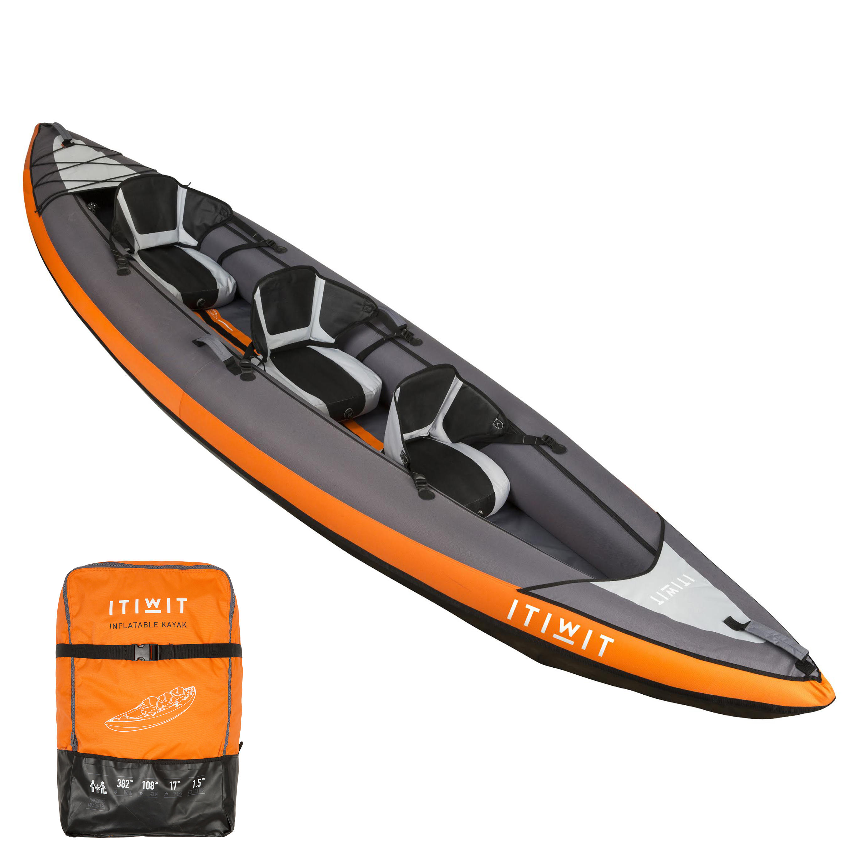 CANOË KAYAK GONFLABLE 2/3 PLACES ORANGE
