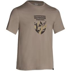 Camiseta manga corta senderismo planicie hombre Tech TIL 100 beige