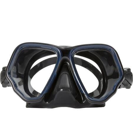 Double-lens sea diving mask SCD 500 - black skirt and blue frame