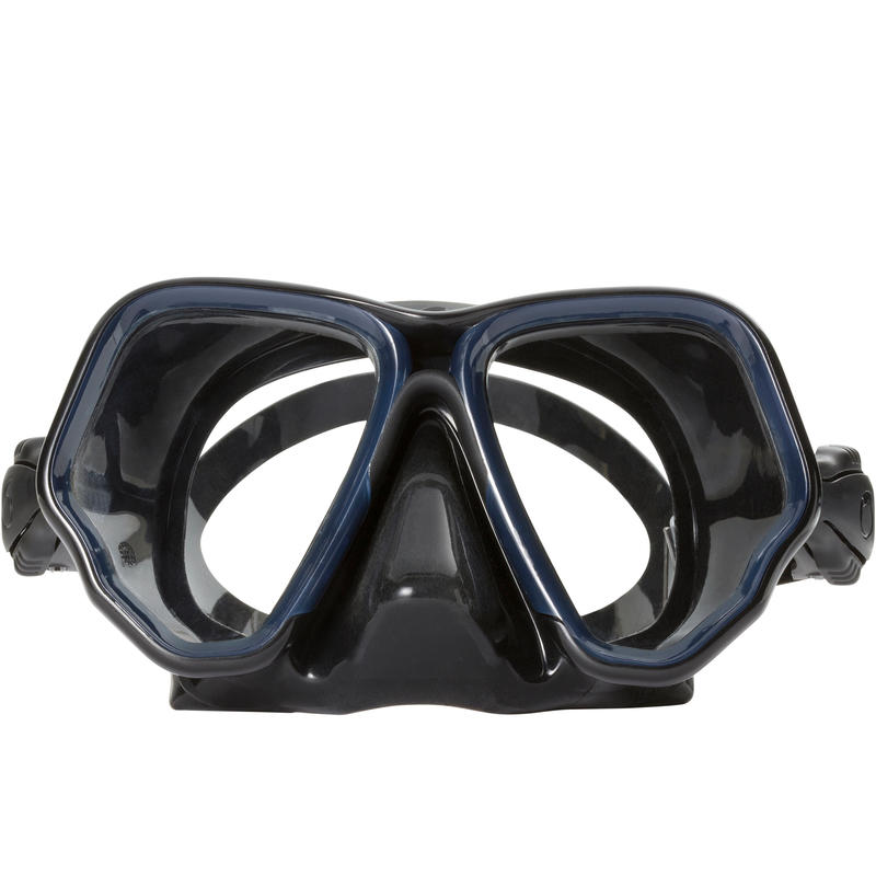 Diving mask SCD 500 double lens black skirt and blue strapping