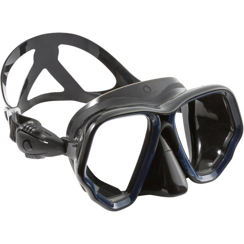 Nardymo kaukė SCD 500 – dvigubas stiklas, juodas apvadas ir mėlynas dirželis