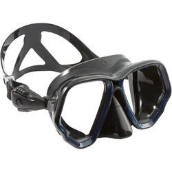 Máscara de buceo SUBEA SCD 500 doble cristal, facial negro y montura azul