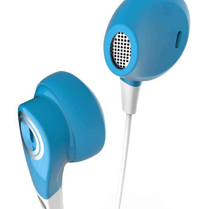 Auriculares running con cable y micro ONear 300 azul blanco