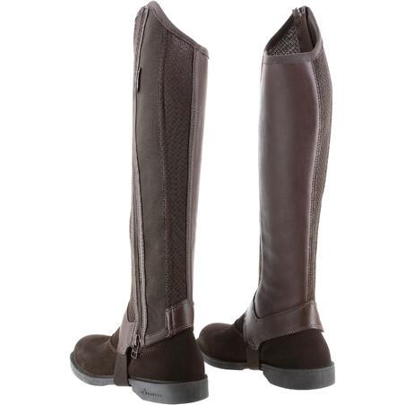 Mini-jambières équitation adulte 100 MESH marron