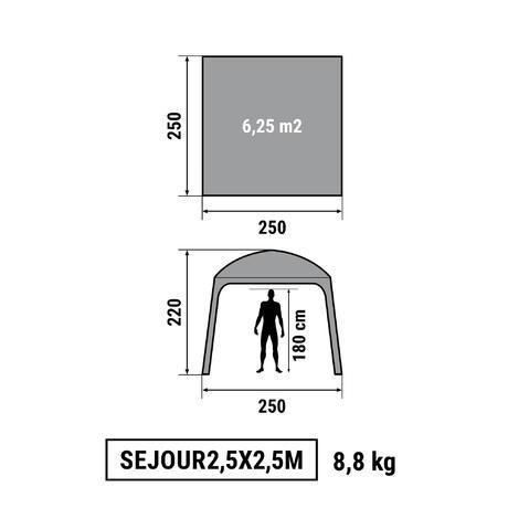 pavillon 2 5 x 2 5 m 6 personen granitgrau quechua. Black Bedroom Furniture Sets. Home Design Ideas