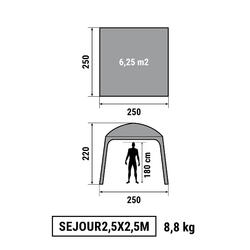 Shelter voor kamperen/trekking 2,5 x 2,5 m 6 personen granietgrijs - 1149572