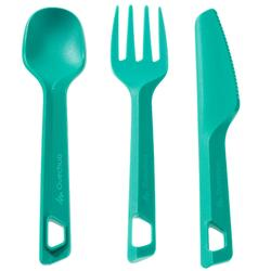 Plastic knife, fork and spoon set for the hiker's