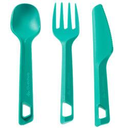 Set 3 cubiertos (cuchillo/tenedor/cuchara) campamento excursionista plást. Verde