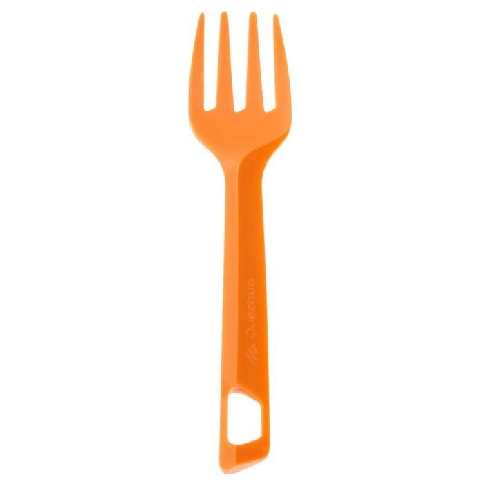 3-delig plastic bestek (mes, vork, lepel) voor kampeertochten plastic oranje