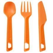 Oranžen plastični jedilni pribor (nož, vilica, žlica)