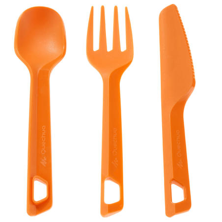 3-piece cutlery set (knife, fork, spoon) for hiking and camping, plastic, orange