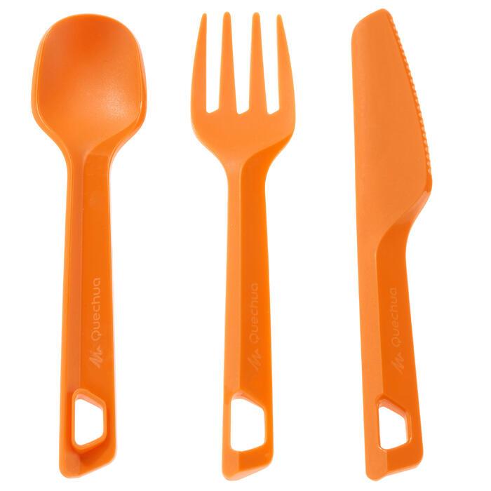 Set 3 couverts (couteau, fourchette, cuillère) camp randonneur plastique orange