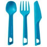 Set 3 cubiertos (cuchillo/tenedor/cuchara) campamento excursionista plást. Azul