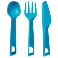 Set 3 Cubiertos Camping Trekking Azul Cuchara Tenedor Cuchillo Plástico