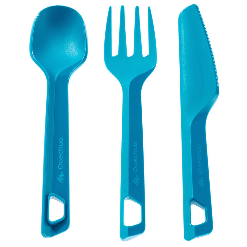 Set of 3 hiker's camp plastic cutlery items (knife, fork, spoon) - blue