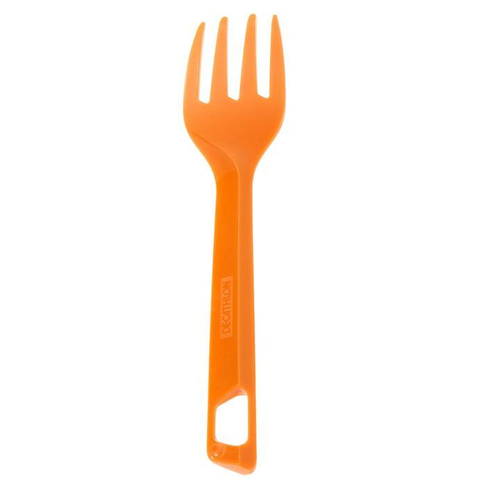 3-delige bestekset (mes, vork, lepel) voor camping/trekking plastic oranje