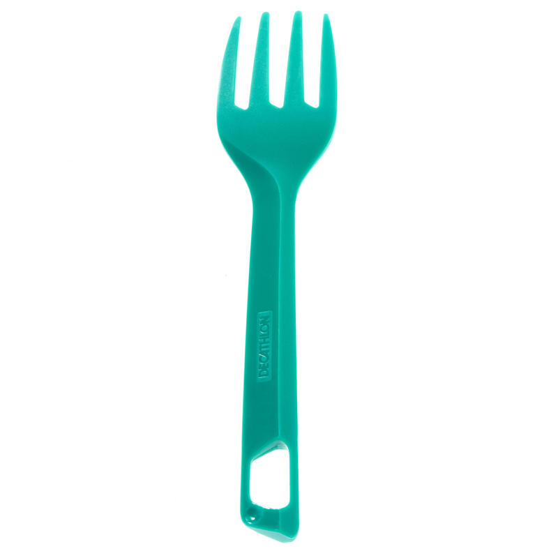 Plastic knife, fork and spoon set for the hiker's camp - green