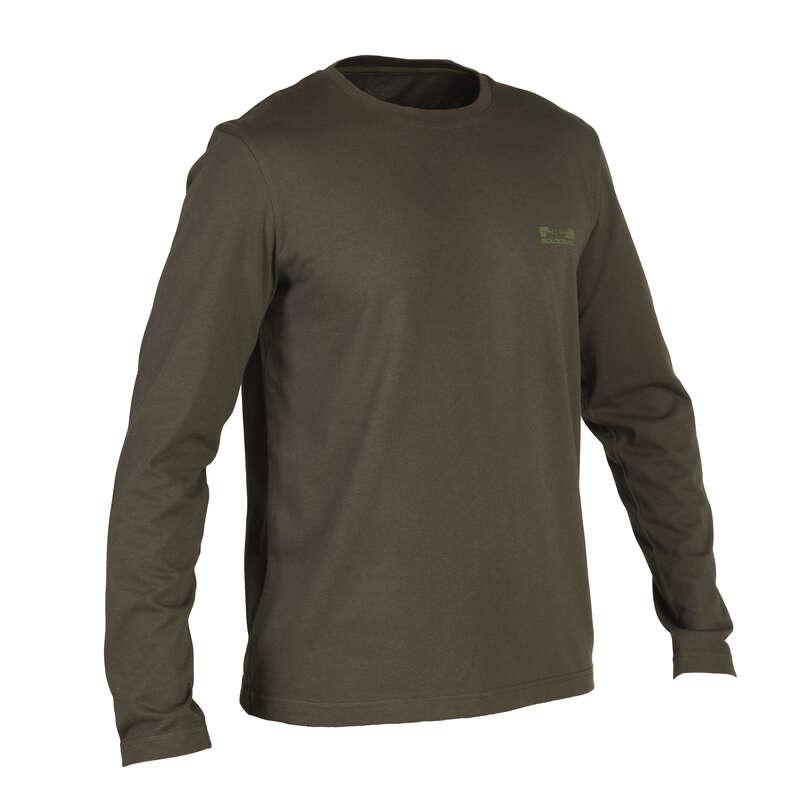 T-SHIRTS/POLOS Shooting and Hunting - T-shirt 100 LS green SOLOGNAC - Hunting and Shooting Clothing