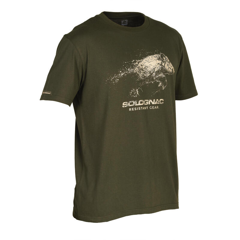 Cotton short-sleeved hunting t-shirt 100 Wild boar