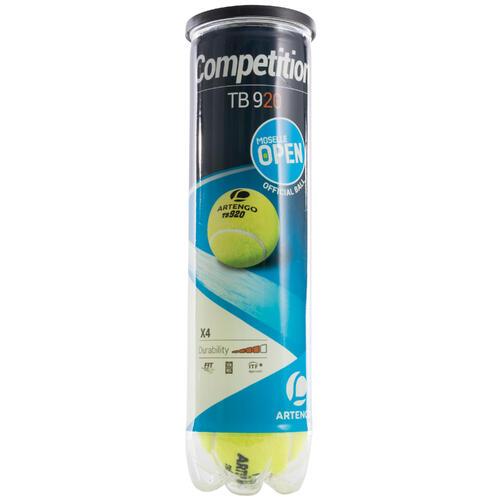 BALLES DE TENNIS TB920 JAUNE LOT DE 4