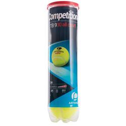 Tennisbal competitie TB930 4 stuks geel