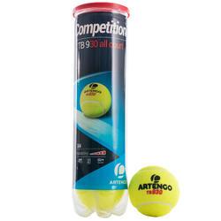 Tennisballen competitie TB930 4 stuks geel