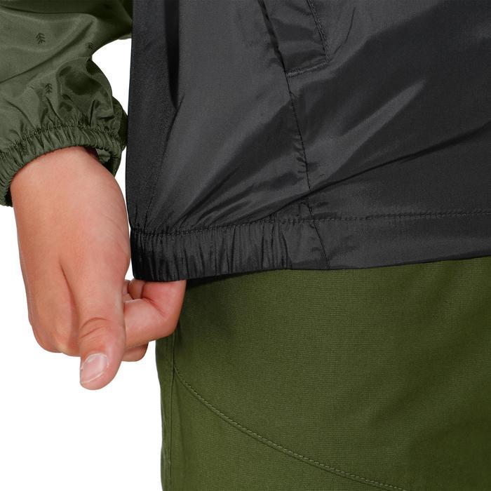 Chaqueta impermeable de senderismo júnior Hike 150 verde caqui/gris