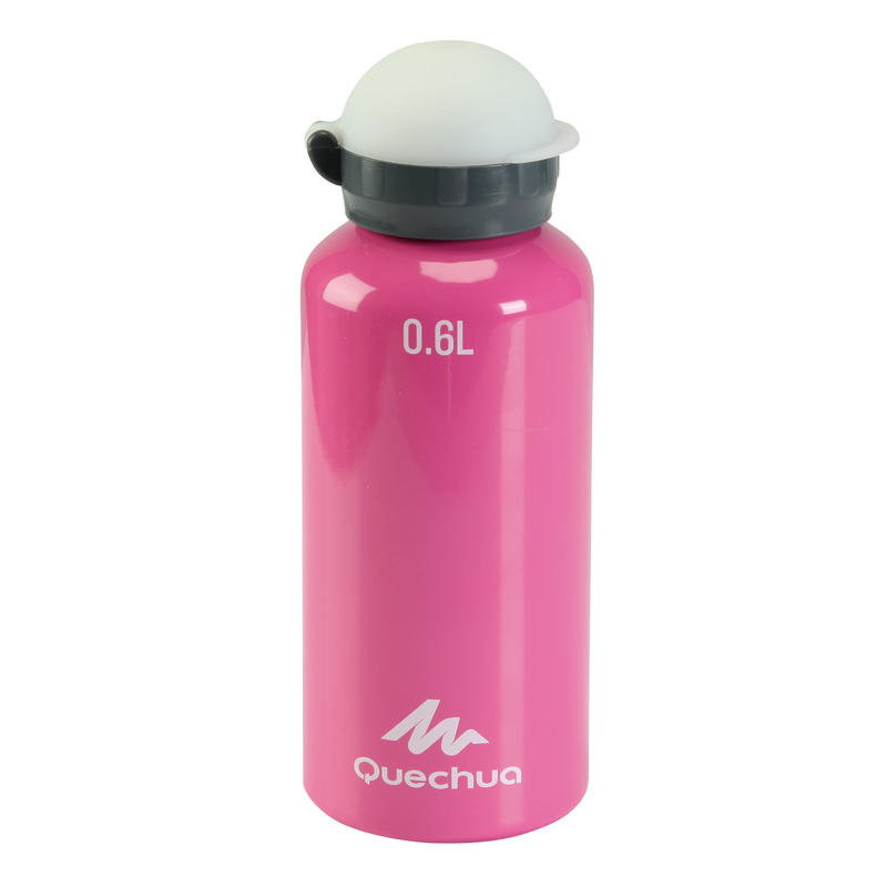 Fast stopper 0.6 l junior aluminium hiking flask with straw, pink