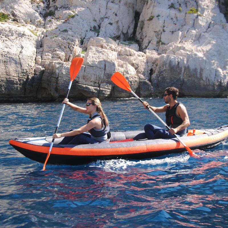 100 2-Part Detachable Kayak Paddle - Orange