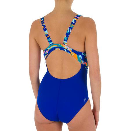 Kamiye Women's Chlorine Resistant One-Piece Swimsuit - All Digi Blue