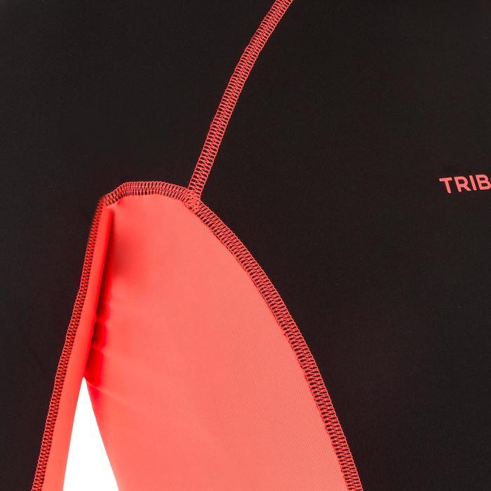 tee shirt anti uv surf top 500 manches courtes femme Noir imprimé - 1151524