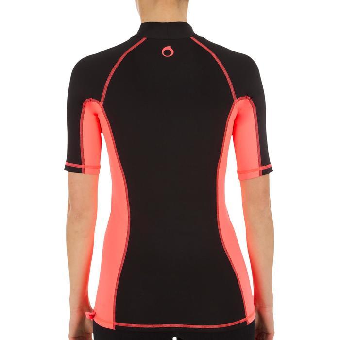 tee shirt anti uv surf top 500 manches courtes femme Noir imprimé - 1151526