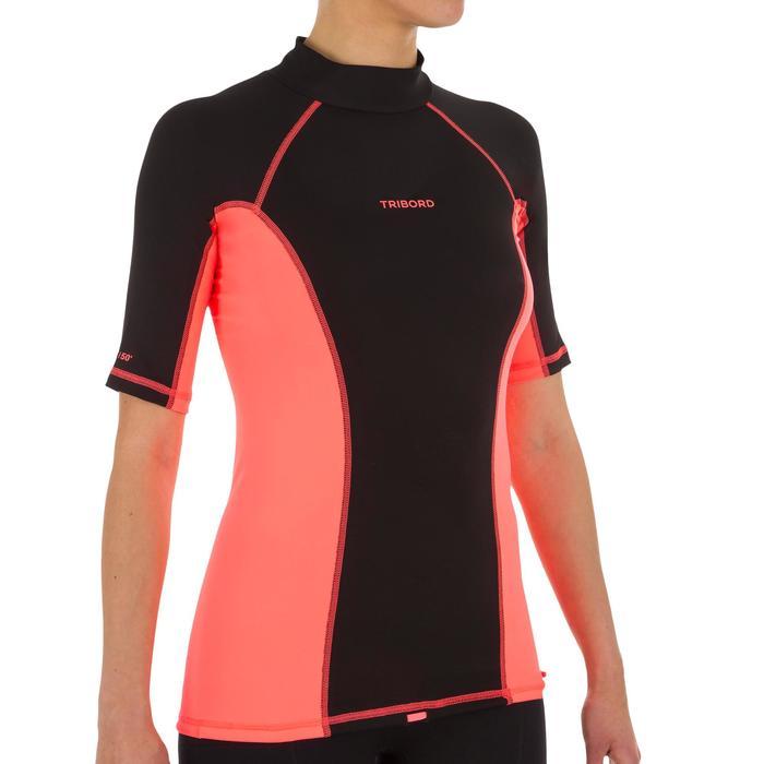 tee shirt anti uv surf top 500 manches courtes femme Noir imprimé - 1151528