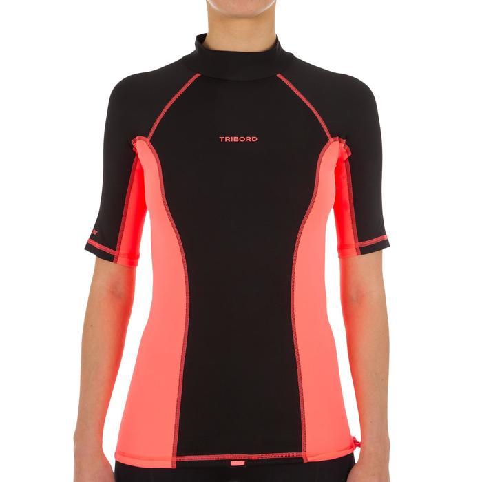 tee shirt anti uv surf top 500 manches courtes femme Noir imprimé - 1151529