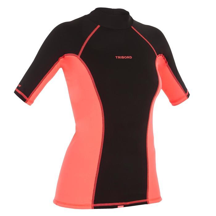 tee shirt anti uv surf top 500 manches courtes femme Noir imprimé - 1151530