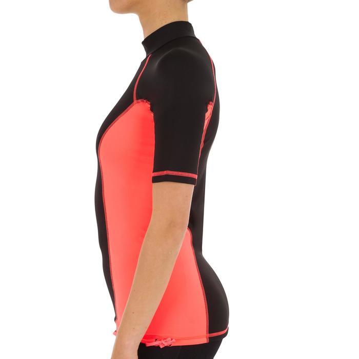 tee shirt anti uv surf top 500 manches courtes femme Noir imprimé - 1151531