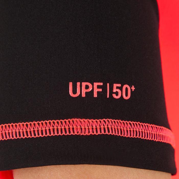 tee shirt anti uv surf top 500 manches courtes femme Noir imprimé - 1151535