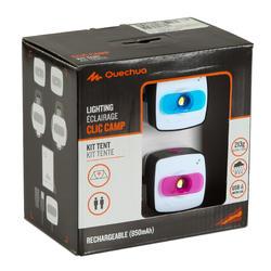 Verlichtingsset voor kamperen Clic 60 lumen blauw/roze - 115155